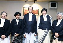 Chief Justice of India N.V. Ramana (centre) with the four women judges currently in the Supreme Court — (from left) justices Bela Trivedi, Hima Kohli, Indira Banerjee and B.V. Nagarathna | File photo: ANI