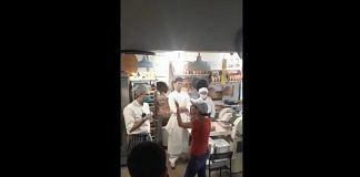 Screengrab of a viral video of a woman screaming at a chef. Photo Credit: Twitter