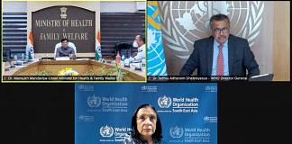 Union Health Minister Mansukh Mandviya during a call with WHO chief, Tedros Adhanom Ghebreyesus