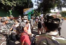 Delhi Police personnel at the protest organised by AISA Sunday | By special arrangement