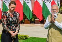 Prime Minister Narendra Modi with Denmark' Prime Minister Mette Frederiksen during their meeting at Hyderabad House, in New Delhi Saturday| PTI