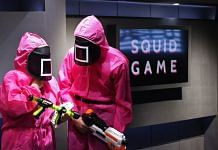 """Participants take part in the games of Netflix smash hit """"Squid Game"""" at the Korean Cultural Centre in Abu Dhabi 