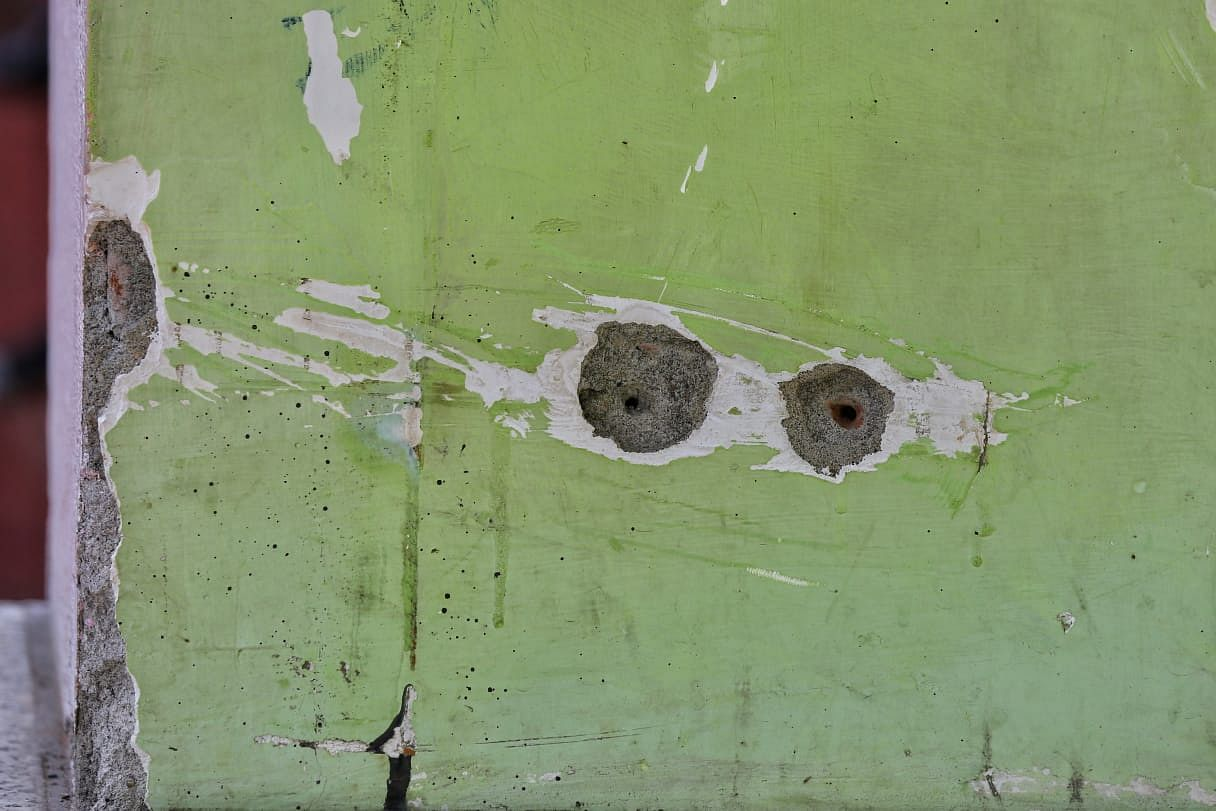 Bullet holes in the walls of the school where the principal and the teacher were killed | Photo: Suraj Singh Bisht/ThePrint