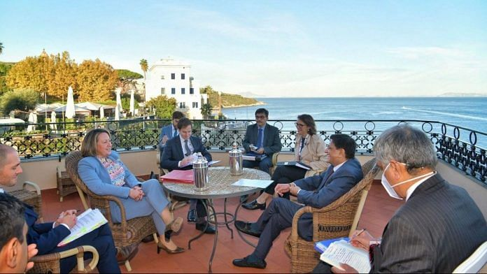 Union Minister Piyush Goyal at a bilateral meeting with UK Secretary of State for International Trade, Anne-Marie Trevelyan (second from right), on the sidelines of the G-20 Trade Ministers' meet in Italy   Twitter/@PiyushGoyal