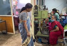 Jayalakshmi at her tiny nuts and bolts manufacturing unit in Hyderabad's Kushaiguda neighbourhood | Photo: Rishika Sadam/ThePrint