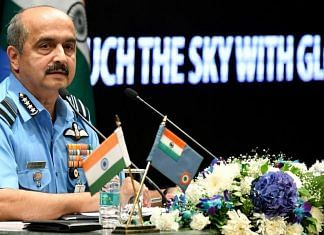 IAF Chief Air Chief Marshal V.R. Chaudhari addresses a press conference ahead of 89th Air Force Day, in New Delhi on 5 October 2021 | Photo: ANI