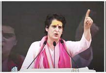 Congress leader Priyanka Gandhi at the Kisan Nyay Rally held on 10 October in Varanasi | Twitter