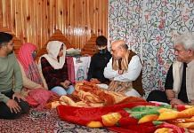 Home Minister Amit Shah visits the home of J&K Police Inspector Parvez Ahmed who was killed by terrorists, in Nowgam on 23 October