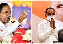 File photos of Telangana Chief Minister K. Chandrashekar Rao and BJP leader Eatala Rajender. | Photos: ANI