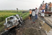 An SUV that was destroyed when violence erupted during farmers' protest in Lakhimpur Kheri   PTI Photo