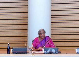 Finance Minister Nirmala Sitharaman during a meeting with World Bank Group chief David Malpass in Washington D.C on 15 October 2021 | Twitter/@FinMinIndia
