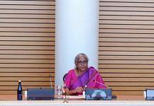 Finance Minister Nirmala Sitharaman during a meeting with World Bank Group David Malpass in Washington D.C on 15 October 2021