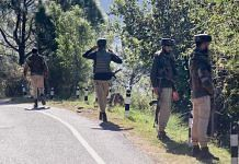Security personnel at the encounter site in Bhatadurian area of Mendhar in Poonch district on 15 October 2021 | PTI Photo