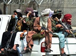 File photo of Taliban fighters guarding the airport in Kabul in August. | Bloomberg